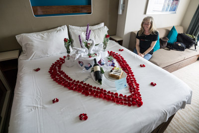 In booking, the NCL website asked if there was a special occasion: I wrote that we would be celebrating our wedding anniversary. This is what we found upon entering our cabin, thanks to Mickle Crisostomo, the housekeeping supervisor, and Manuel Frederick, our cabin steward.