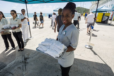 After a hot day in the Caribbean sun on St. Maarten, there could not have been a better way to be greeted back aboard the ship than with ice-cold, damp, mint-infused washcloths.