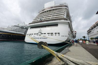 Big ship, big dock lines: The Norwegian Getaway docked in Nassau.