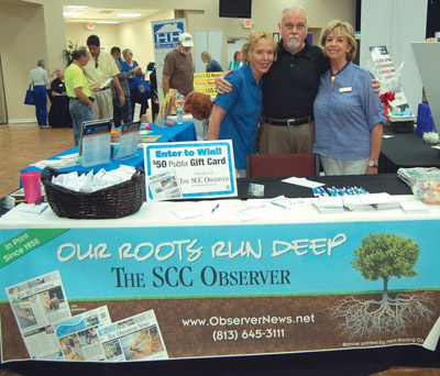 Observer News advertising sales staff Lynne Conlan, Mike Jones and Nan Kirk hosted the newspaper's table during the expo.