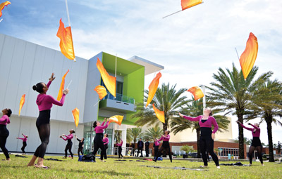 The Riverview color guard team warms up outside the Ocean Center before its performance. Michelle Bradshaw photo.