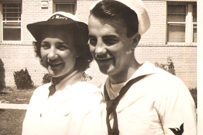 Evelyn Mastalerz with her brother, Ray Elias, who also served in the Navy during World War II.