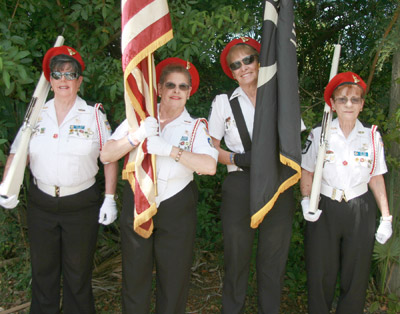 Ladies Auxiliary Color Guard, from left: Nancy Rennie, Shirley Turner, Shirley May and Pat Sims.