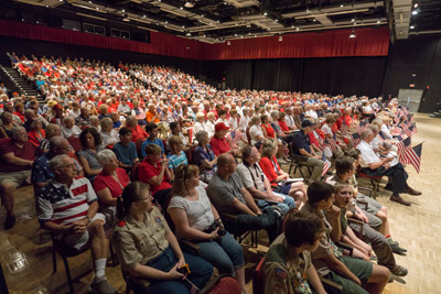 It was standing room only in the newly renamed Veterans Theater in Kings Point. The theater, formerly Borini Theatre, had been renamed shortly before the ceremony.