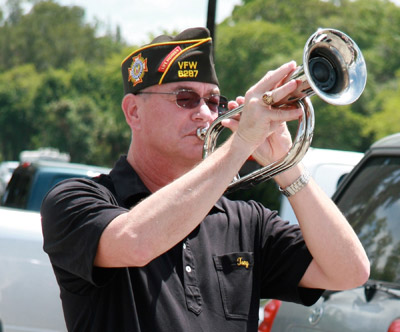 Tony Zipperer plays for the Memorial Day ceremony honoring departed soldiers. Lisa Stark photos.