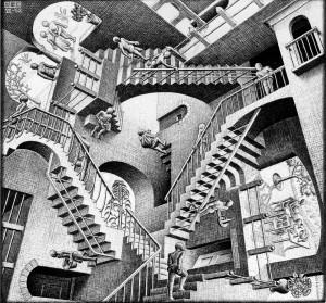 Relativity, a lithograph by M.C. Escher dated 1953.