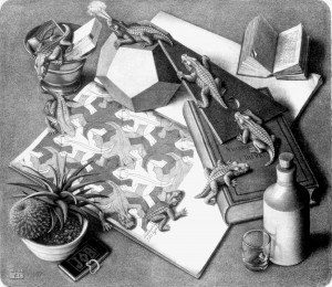 Reptiles, a lithograph by M.C. Escher, dated 1943.