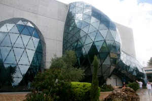An exterior view of The Dali Museum, taken from the gardens.