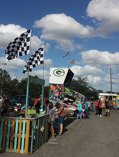 Lemonade, hot dogs and a booth where attendees could test their prowess at tossing a football, were among the attractions at the event.