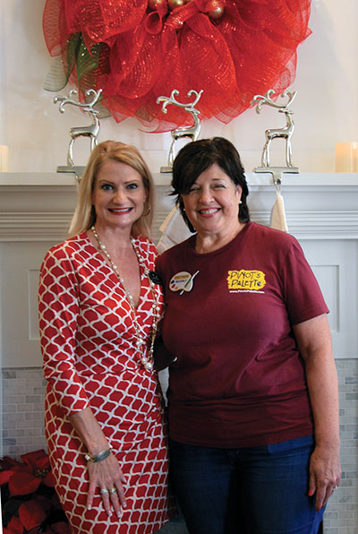 Sabina Raymond, left, and Pinot's Palette franchise owner Beverly Walker.