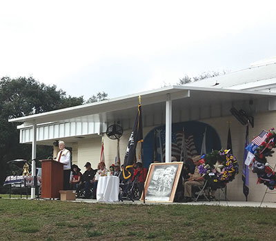 Keynote speaker U.S. Army Air Corps Sgt. Edward DeMent addresses the audience at a Pearl Harbor remembrance ceremony at Hillsborough County's Veterans Memorial Park on U.S. 301 on Monday, Dec. 7. Kevin Brady photos.