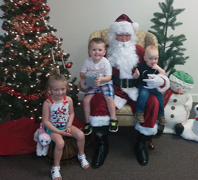 Santa showed up to take requests from the kids.