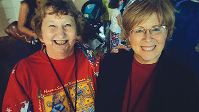 """Kay Sullivan, right, and another member of Winthrop Arts' """"Board of Visionaries."""""""