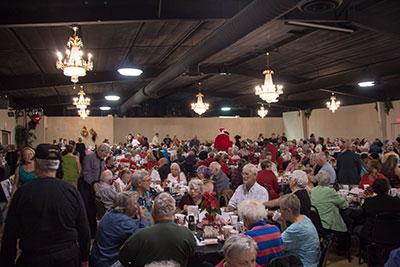 An estimated 650 seniors and homeless veterans turned out for the annual senior Christmas dinner. The event, which has been organized by Barbara Jones of the HCSO for 19 years, is filled with smiles, laughter, conversation and tears, and is the only Christmas some seniors wil have. Michelle Traphagen photos.