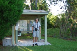 CARL MARIO NUDI PHOTOs Steve Black stands under the kiosk near the parking lot of the Felts Preserve. Like much of the improvements made to the preserve, the kiosk was built with funds from a grant.