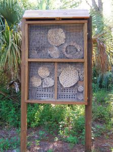 Boy Scout Dakota Lapinsky designed and built the bee hotel at the Felts Preserve as part of his project to earn his Eagle rank.