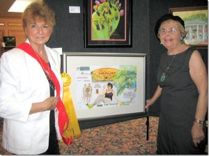 Carole Scoble's painting featuring her friend, Marion Scheller, won a first place award at the 50th Anniversary Celebration of Sun City Center.