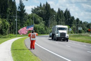 Along U.S. 41 there were no shortage of drivers honking and waving. She smiled and waved back to each one.