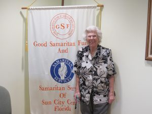 BILL HODGES PHOTOS Doris Ragland, the driving force behind Samaritan Services for 31 years, was all smiles at a Retirement Open House on June 21. Many of the volunteers, CA directors and other SCC residents attended to wish her well.