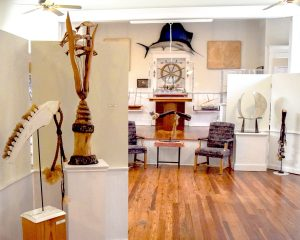 """Stephen Humphrey's abstract and intriguing """"Living By Water"""" exhibit."""