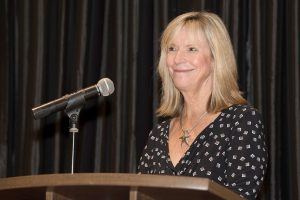 """Speaker Ellen Kleinschmidt, Hillsborough County's 2005 Teacher of the Year, tells new teachers at the chamber's Teaching to Excellence Breakfast to """"think big, look for teachable moments, have fun and wear comfortable shoes."""""""