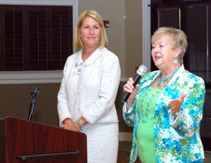 Hillsborough County School Board member Sally Harris welcomes educators Aug. 5 at the SouthShore Chamber's annual New Teacher Breakfast, while Area 8 Deputy Director Maribeth Brooks looks on.
