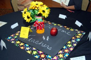 Colorful table settings made by chamber staff members greeted teachers from 12 area schools at the SouthShore Chamber's annual New Teacher Breakfast Aug. 5.