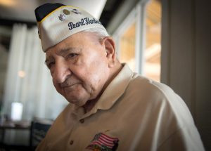 MITCH TRAPHAGEN PHOTOS Commander Ed Socha at his surprise birthday party at Little Harbor Resort on Aug. 5. Socha is the last known Pearl Harbor survivor in Sun City Center.
