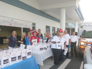 """BILL HODGES PHOTOS A team of volunteers were on hand to welcome First Responders who came to the United Methodist Church Sept. 14 to receive a goodie bag along with a big """"thank you."""""""