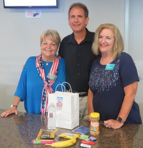 From left: Director of Ministry Pat Hill; Sr. Pastor Dr. Charlie Bentz; and Community Connections Team Leader Jane Keegan were thrilled at the turnout for their First Responders Appreciation Day. They gave out 170 goodie bags.