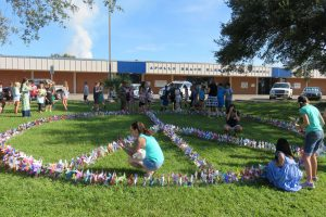 MARGIT REDLAWSK PHOTOS Students, teachers and staff at Apollo Beach Elementary planted more than 700 pinwheels on the front lawn of the school for International Day of Peace, Sept. 21. The planting was the culmination of their annual Pinwheels for Peace art project.