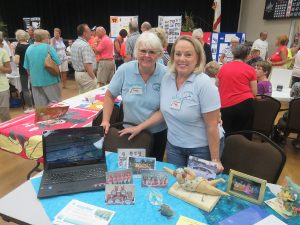 Susan Muise and Dana Ellerbrock were enthusiastically telling guests about Swimdancers, the CA's synchronized swim group.