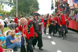 Pirates and wenches of Ye Notorious Krewe of the Peg Leg Pirate will hand out hundreds of beads in the upcoming Ruskin VFW Veteran's Day Parade. Other krewes marching in the parade this year will include the Tampa Rough Riders, Ye Royal Krewe of Charlotte de Berry, Krewe of the South Shore Marauders, Krewe of Sea SaveYours and Krewe of the USA.