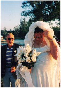 In Ruskin, we learned that colorful characters come in all ages. In the '90s, the marina threw a mock-wedding party for Michelle and me. Not shown in the photo: Bill, the man standing behind Bob the Bride, is holding a rifle. Both were wonderful friends.