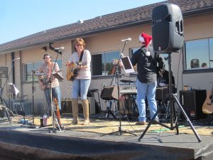 The Ladyhawke Band, shown here revving up music lovers in the CA courtyard, will be performing at the Minto Winter Festival on Dec. 10 following the cart parade.