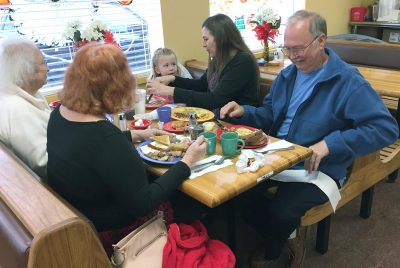 Four generations of the Craig family enjoy breakfast at the Kountry Kitchen, 514 U.S. 41 N., Ruskin. Formerly the home of a Whataburger, Grannies Restaurant and The Skillet, the building recently was completely renovated inside and out by its new owner. LOIS KINDLE PHOTO