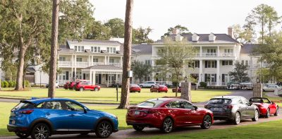 The Colonial-style Montage Palmetto Bluff Resort in Bluffton, S.C., was the location of Mazda's Active Lifestyle Drive Program. Photographs © Tim Zielenbach for Mazda USA Mazda Active Lifestyle driving event. Participants bike and kayak through Sea Pines Resort in Hilton Head Island, SC, after test driving from Montage Palmetto Bluff, Bluffton, SC.